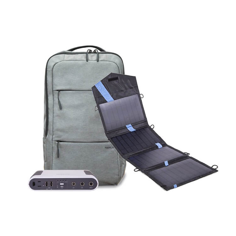 Computer backpack with SMART power bank and solar charger